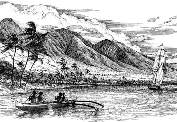 Old Lahaina Etching