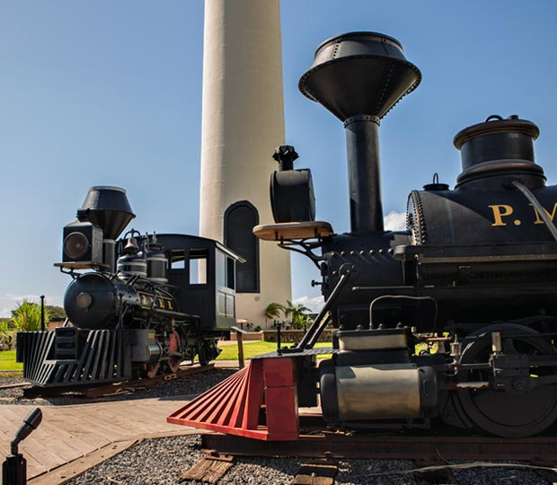 Trains with Lahaina Pioneer Mill Smokestack