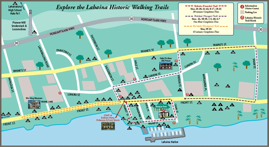 Map to Lahaina Historical Trail