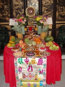 Moon Festival offerings in Wo Hing Museum
