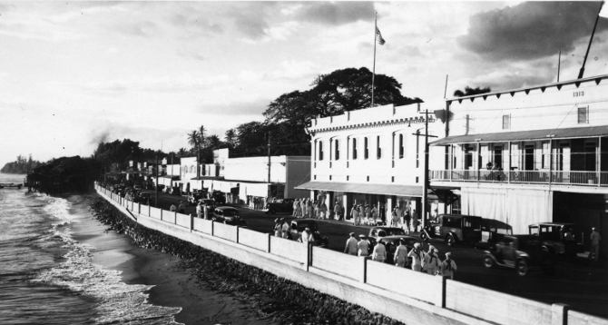 Lahaina seawall and sailors on Front Street
