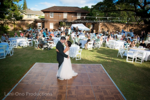 Old Lahaina Prison wedding setup with dancefloor