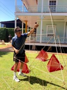 Tetrahedral kite making at Wo Hing Museum