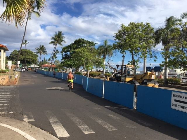Lahaina Harbor front construction barricades on Wharf St