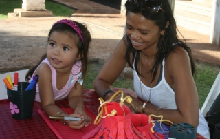 Keiki makes Chinese paper lanters at Moon Festival