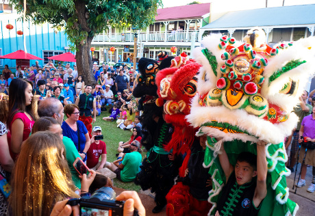Chinese lions entertain crowd at Wo Hing