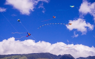 Kite Festival kites flying against mountain backdrop in West Maui