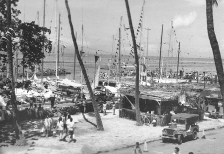 Lahaina Harbor 1950s scene