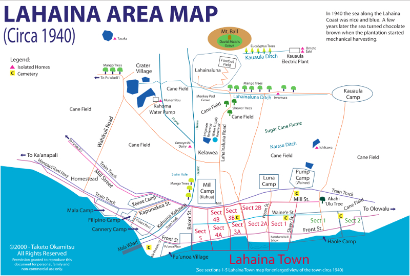 Lahaina Area Map of 1940